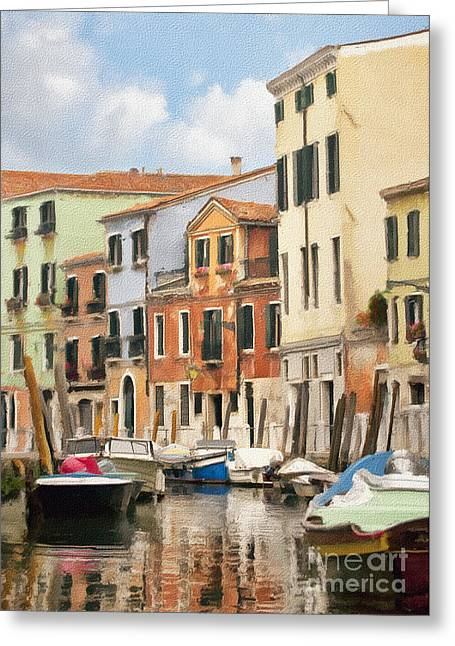 Italian Seascape Greeting Cards - Venetian Apartments Impasto Greeting Card by Sharon Foster