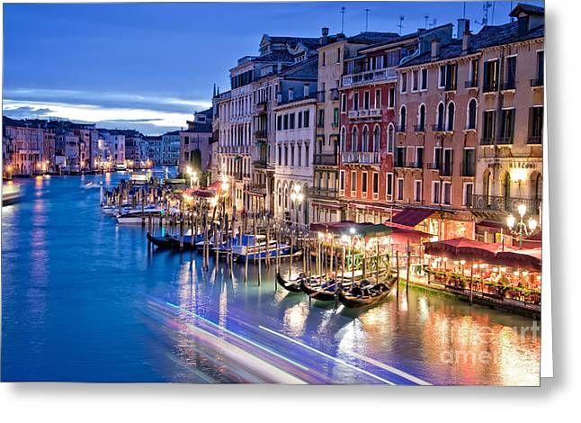 Italian Sunset Greeting Cards - Venetian Blue Greeting Card by Delphimages Photo Creations