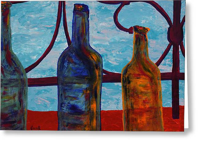 Venetian Bottles  Greeting Card by Oscar Penalber