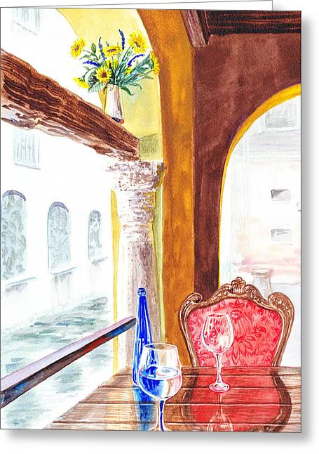 Pitcher Paintings Greeting Cards - Venetian Cafe Greeting Card by Irina Sztukowski