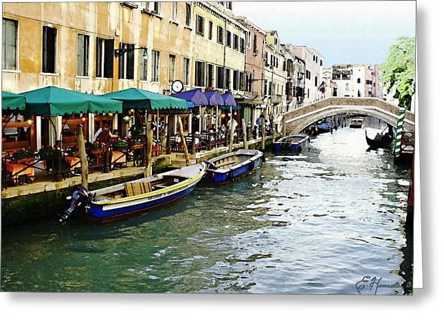 Italian Restaurant Greeting Cards - Venetian Cafes Greeting Card by Ellen Henneke