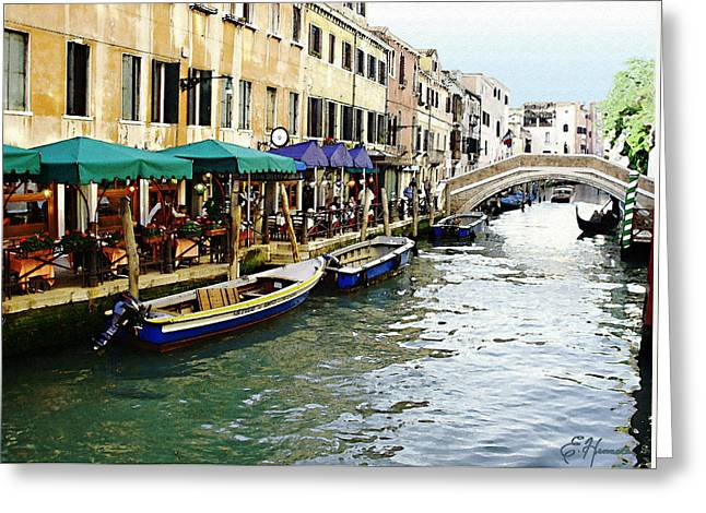 Italian Restaurant Greeting Cards - Venetian Cafes Greeting Card by Ellen Henneke