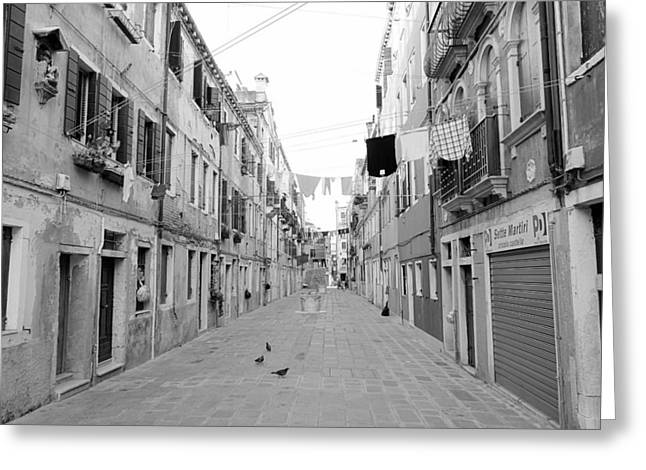 Venetian Calle Greeting Card by Valentino Visentini