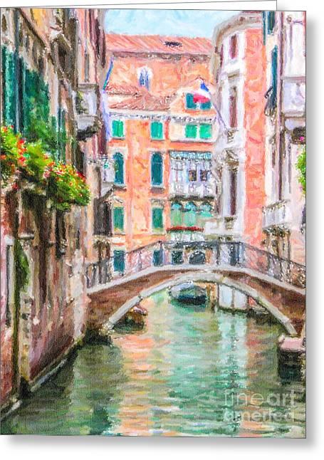Venezia Greeting Cards - Venetian canal Greeting Card by Liz Leyden