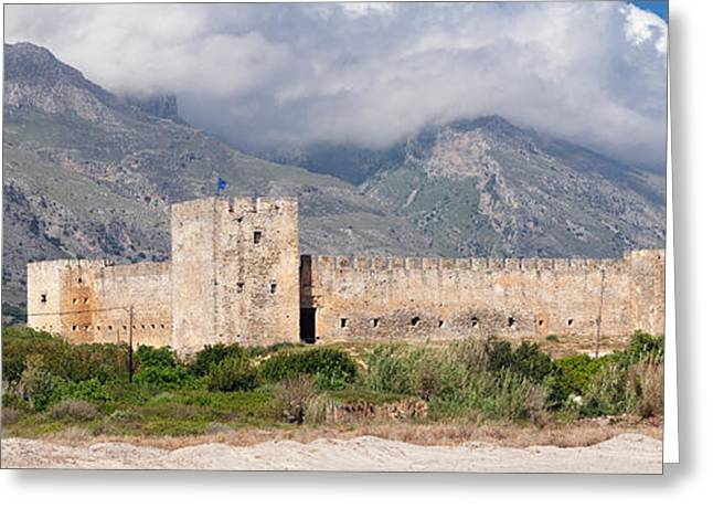 Crete Greeting Cards - Venetian Castle In Front Of Lefka Ori Greeting Card by Panoramic Images