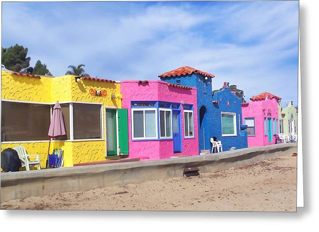 Capitola Greeting Cards - Venetian Court Seaside Resort Greeting Card by Art Block Collections