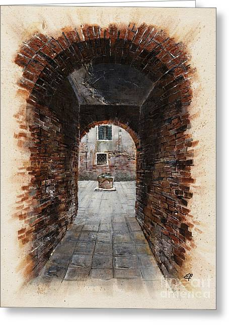 Nebbia Greeting Cards - Venetian courtyard 01 Elena Yakubovich Greeting Card by Elena Yakubovich
