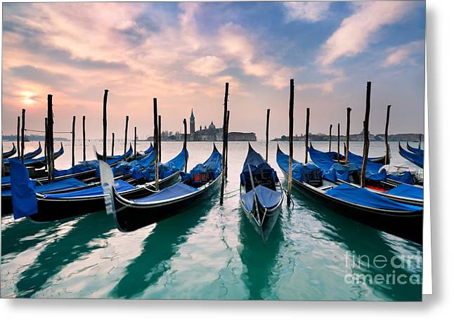 Blurred Motion Greeting Cards - Venetian Dawn  Greeting Card by Rod McLean