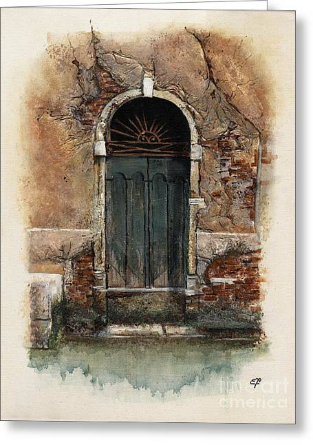 Nebbia Greeting Cards - Venetian door 01 Elena Yakubovich Greeting Card by Elena Yakubovich