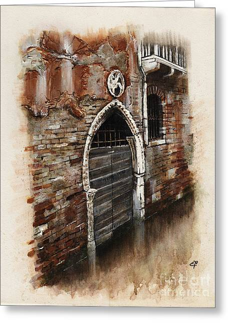 Nebbia Greeting Cards - Venetian Door 03 Elena Yakubovich Greeting Card by Elena Yakubovich