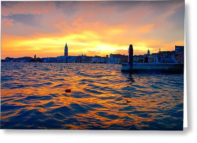 Italian Sunset Greeting Cards - Venetian Dusk Greeting Card by Valentino Visentini