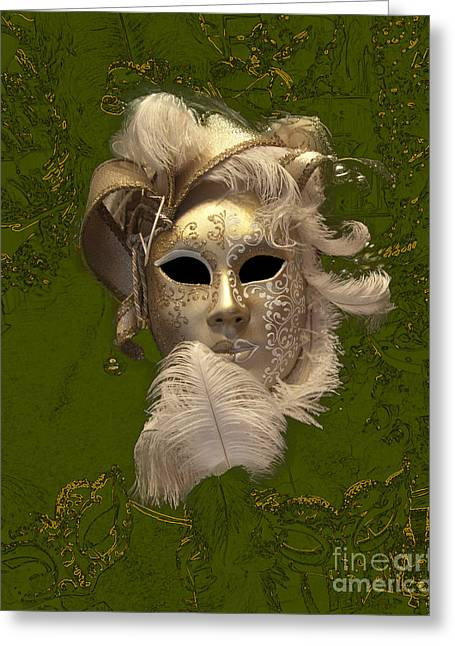 Outfit Greeting Cards - Venetian Face Mask D Greeting Card by Heiko Koehrer-Wagner