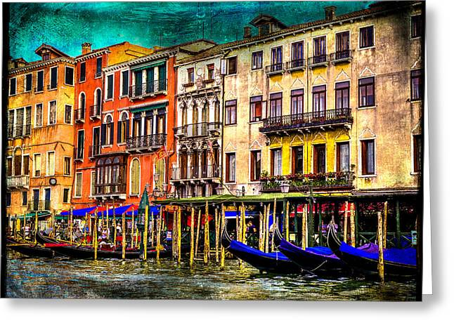 Italian Restaurant Mixed Media Greeting Cards - Venetian Fun Greeting Card by Stacy Tonozzi