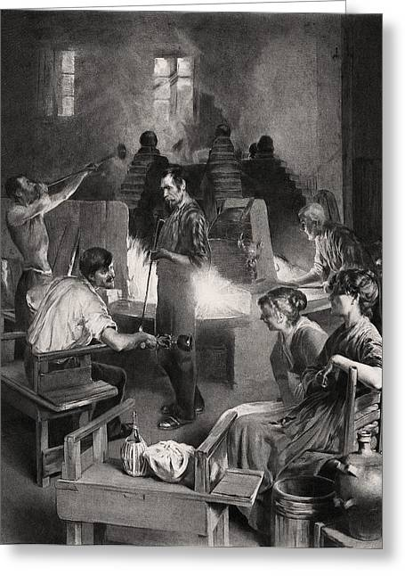 Glass Blowing Greeting Cards - Venetian glass blowers, 19th century Greeting Card by Science Photo Library