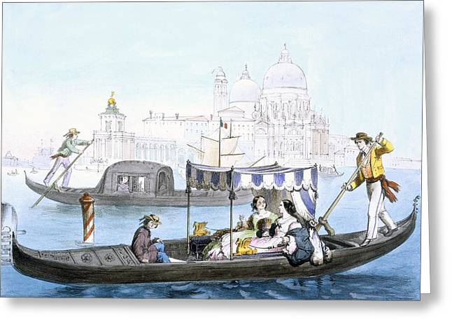 Venetian Gondola, From Vedute Dei Greeting Card by Giovanni Battista Cecchini