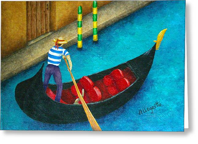 Italian Mediterranean Art Greeting Cards - Venetian Gondolier Greeting Card by Pamela Allegretto
