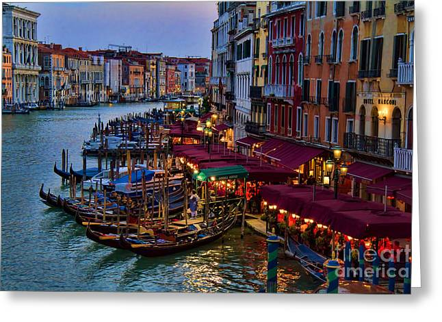 Italian Restaurant Greeting Cards - Venetian Grand Canal at Dusk Greeting Card by David Smith