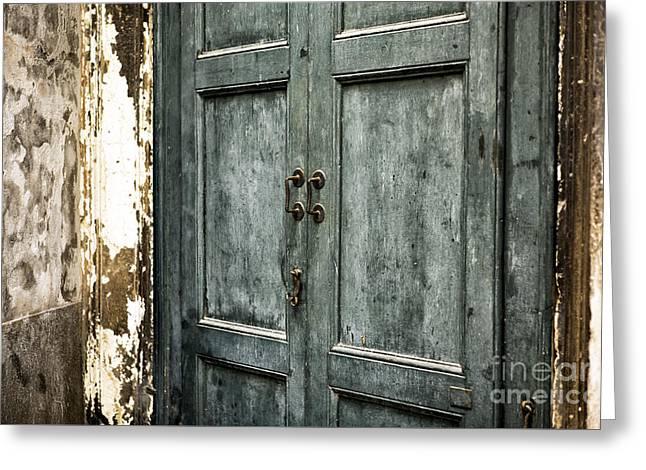 Venetian Door Greeting Cards - Venetian Green Door Greeting Card by John Rizzuto