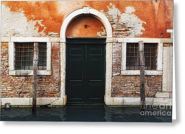 Flooding Greeting Cards - Venetian House Entrance Greeting Card by George Oze
