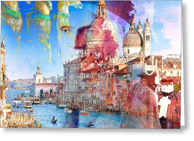 Intrigue Mixed Media Greeting Cards - Venetian intrigue Greeting Card by GANECH Graphics