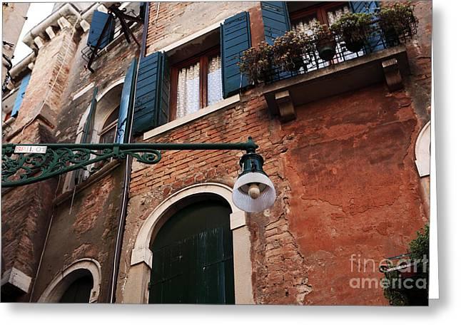 Venetian Doors Greeting Cards - Venetian Lamp Post Greeting Card by John Rizzuto