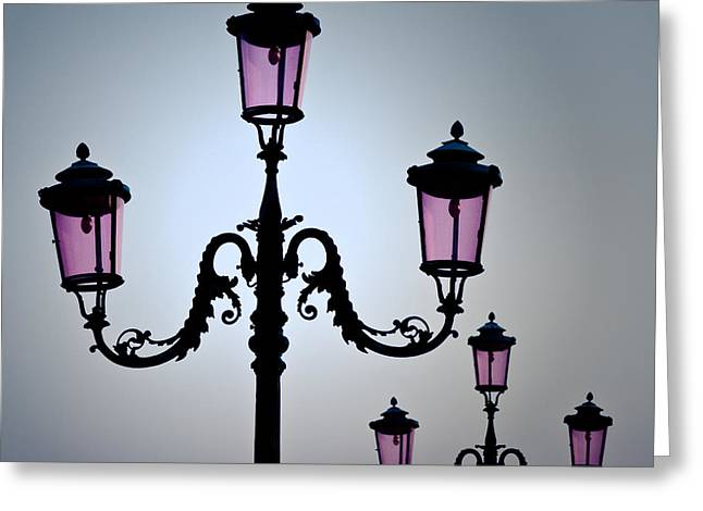 Authentic Greeting Cards - Venetian Lamps Greeting Card by Dave Bowman