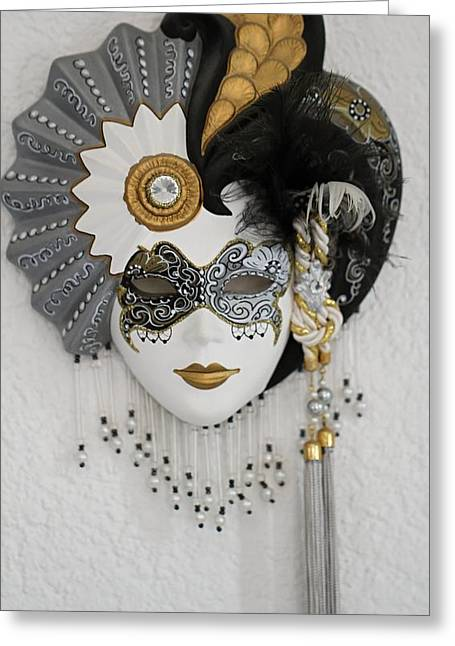 Jester Ceramics Greeting Cards - Venetian mask Greeting Card by FL collection