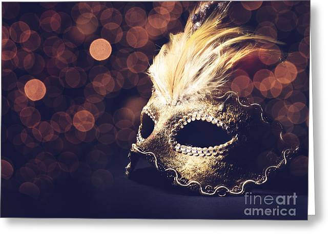 Feather Pyrography Greeting Cards - Venetian Mask Greeting Card by Jelena Jovanovic