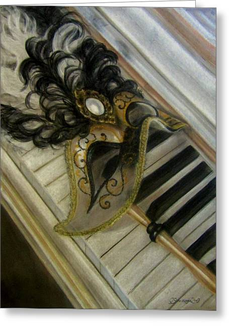 Orchestra Pastels Greeting Cards - Venetian mask on Piano  Greeting Card by Gea Scheltinga