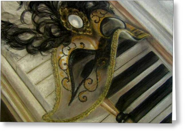 Venetian mask on Piano  Greeting Card by Gea Scheltinga