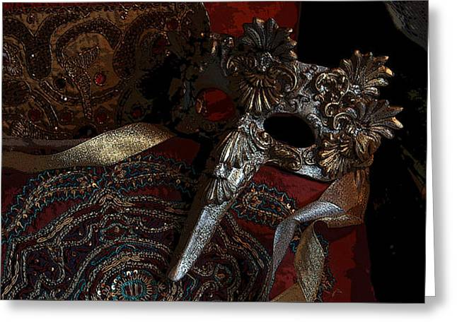 Recently Sold -  - Festivities Greeting Cards - Venetian Mask Greeting Card by Yvonne Nowicka-Wright