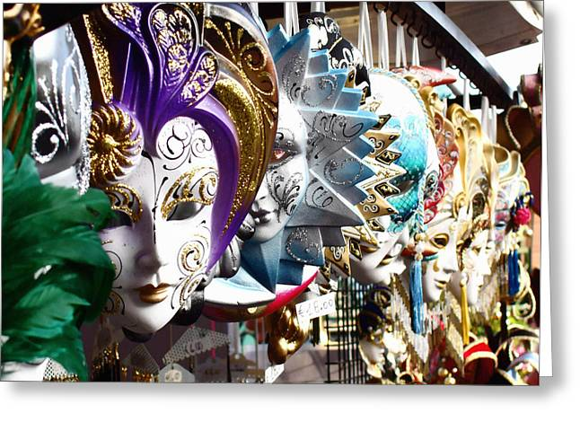Jester Greeting Cards - Venetian Masks 1 Greeting Card by Ellen Henneke