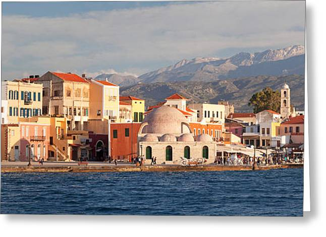 Crete Greeting Cards - Venetian Port And Turkish Mosque Hassan Greeting Card by Panoramic Images