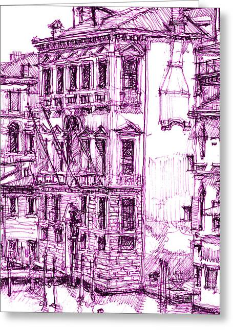 City Skylines Framed Prints Greeting Cards - Venetian purple house Greeting Card by Lee-Ann Adendorff