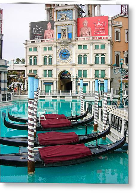 Geobob Greeting Cards - Venetian Resort Las Vegas and Grand Canal Replica Las Vegas Nevada Greeting Card by Robert Ford