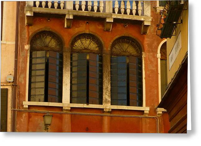 Sienna Greeting Cards - Venetian Shutters Greeting Card by Connie Handscomb