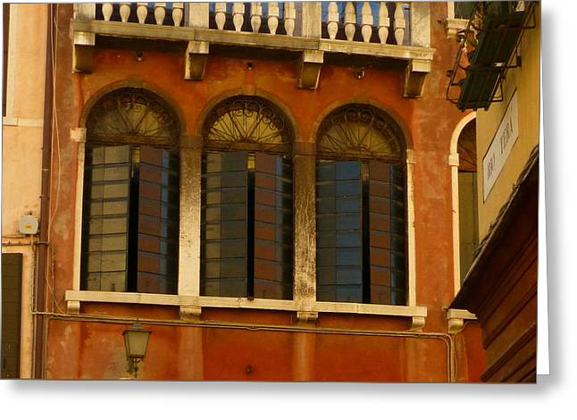 Sienna Italy Greeting Cards - Venetian Shutters Greeting Card by Connie Handscomb