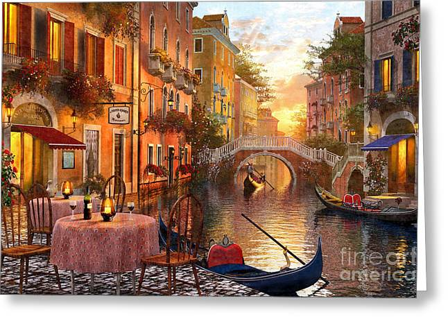 Italian Restaurant Greeting Cards - Venetian Sunset Greeting Card by Dominic Davison