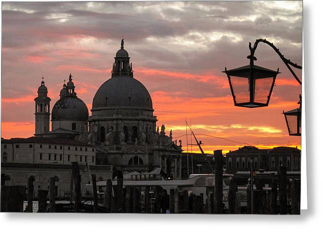 Italian Sunset Greeting Cards - Venetian Sunset Greeting Card by Joe Winkler