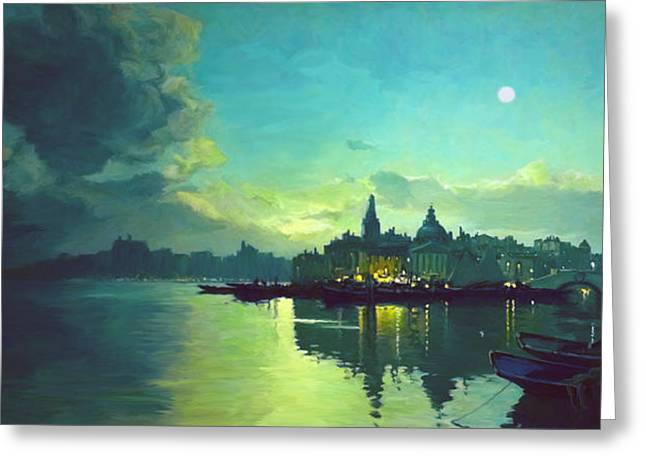 Reflecting Water Digital Art Greeting Cards - Venetian Twilight Greeting Card by Paul Tagliamonte
