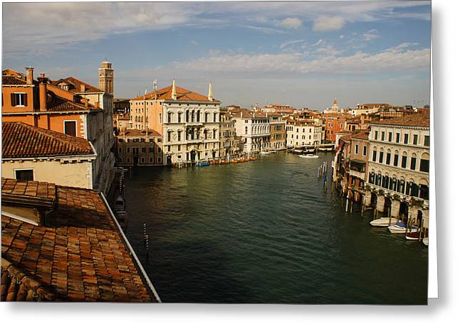 The Houses Greeting Cards - Venetian View of the Grand Canal  Greeting Card by Georgia Mizuleva