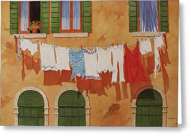 Venetian Washday Greeting Card by Mary Ellen  Mueller Legault