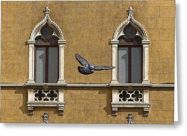 Venetian Balcony Greeting Cards - Venetian Window Greeting Card by Ayhan Altun