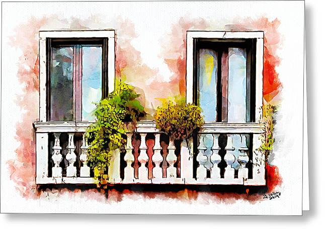 Venice Greeting Cards - Venetian Windows 5 Greeting Card by Greg Collins