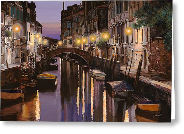 Bridge Greeting Cards - Venezia al crepuscolo Greeting Card by Guido Borelli