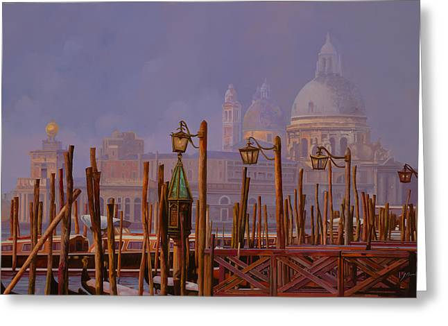 Noon Greeting Cards - Venezia E La Nebbia Greeting Card by Guido Borelli