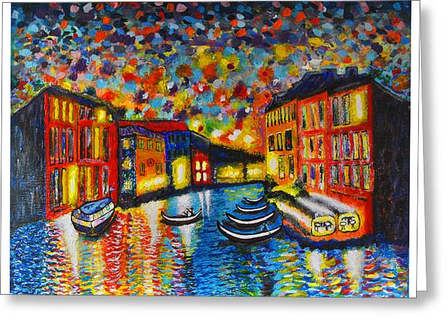 Italian Night Life Greeting Cards - Venezia Grande Canal at Dusk Greeting Card by Ricardo Of Charleston