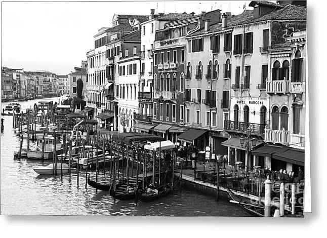 Photo Art Gallery Greeting Cards - Venezia in black and white Greeting Card by John Rizzuto