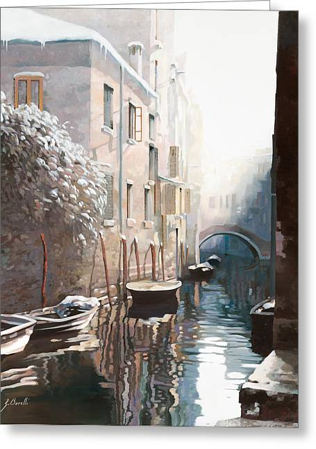 Cold Paintings Greeting Cards - Venezia sotto la neve Greeting Card by Guido Borelli