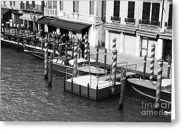 Taxi Stands Greeting Cards - Venezia Taxi Stand Greeting Card by John Rizzuto